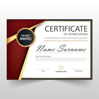 Red elegant horizontal diploma