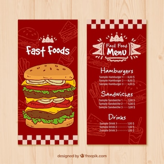 Red fast food menu