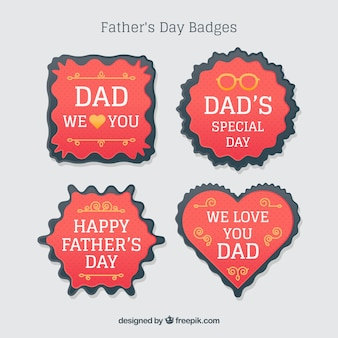 Red father's day badges
