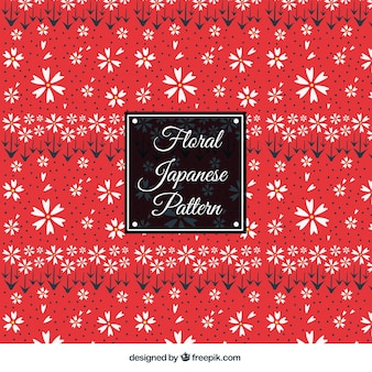 Red floral japanese pattern