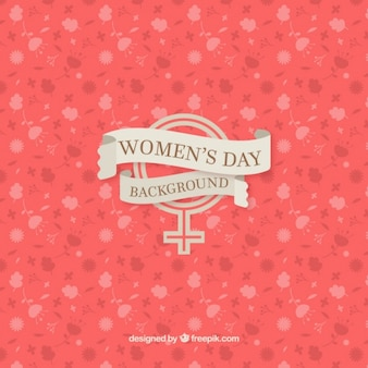 Red floral womens day background
