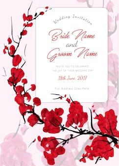 赤い花の結婚式の招待状