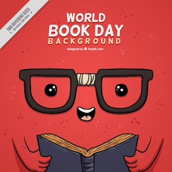 Red funny book day background