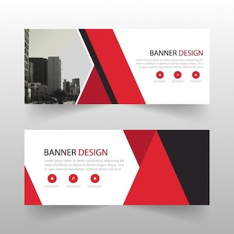 Red geometric banner with abstract shapes