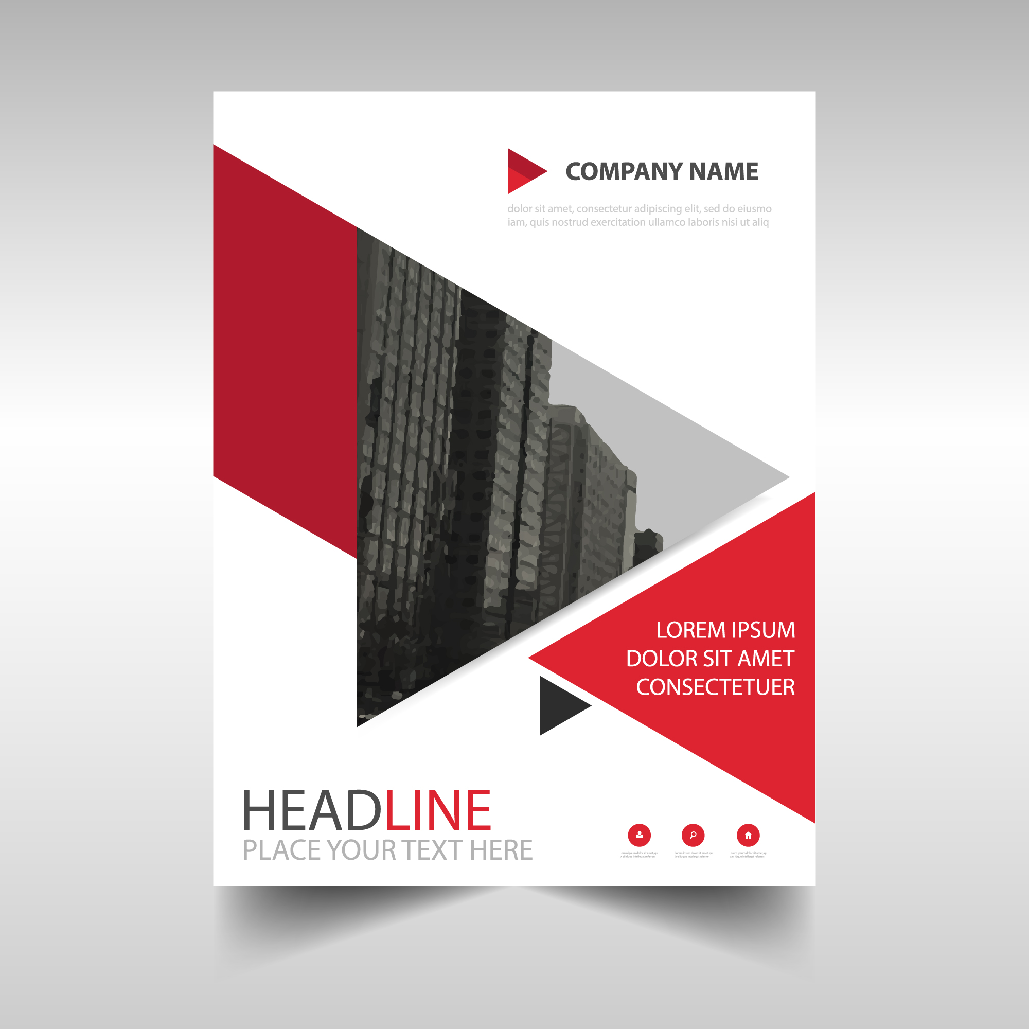 Red geometric brochure with triangles