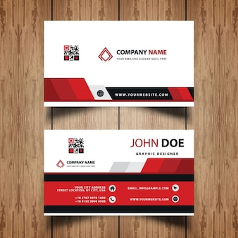 Red geometric business card