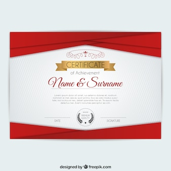 Red geometric shapes certificate