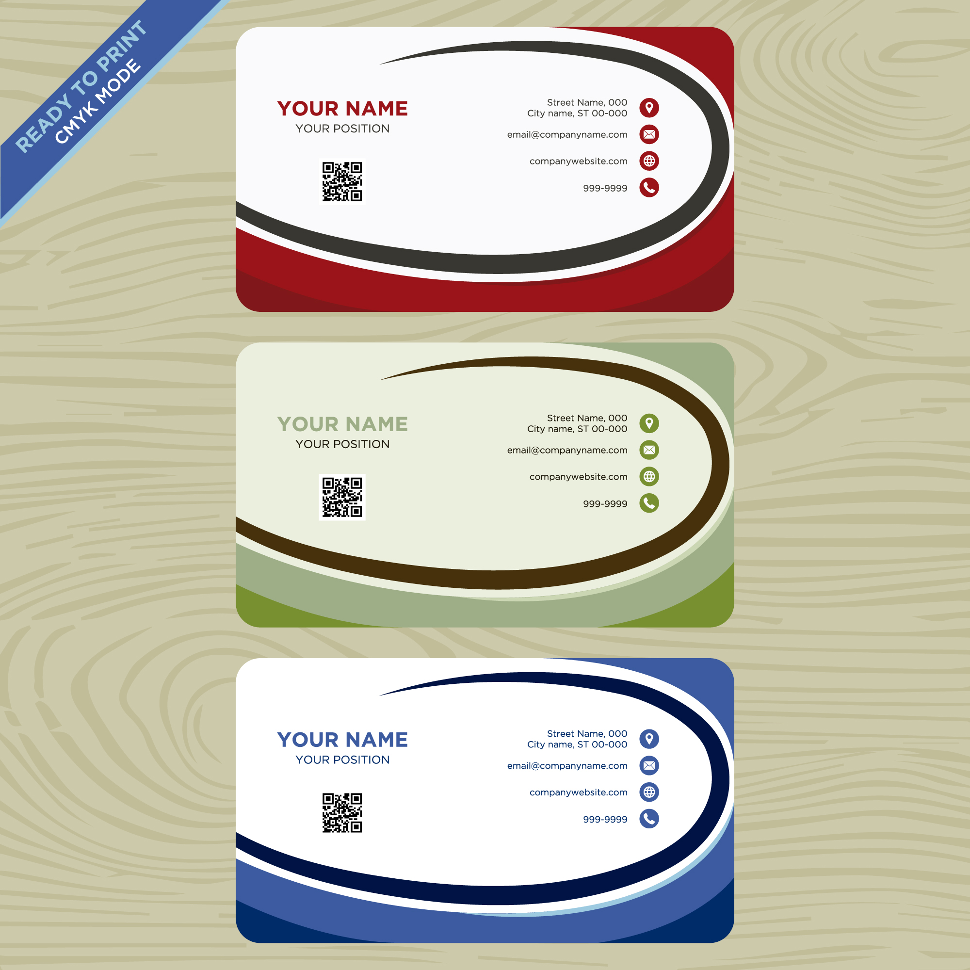 Red, green and blue business card collection