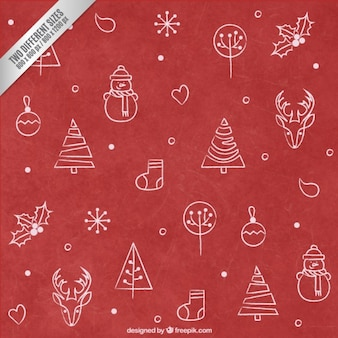 Red Hand Drawn Christmas Background