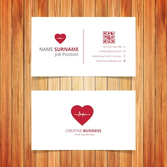 Red heart business card