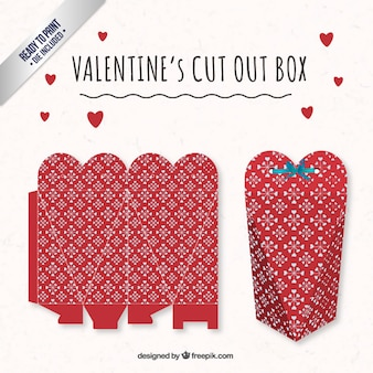 Red heart valentines day box