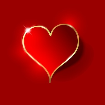 Red heart with a golden border background