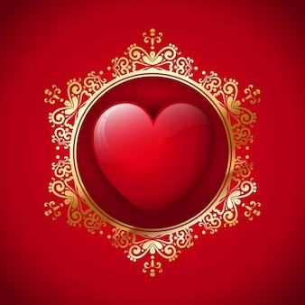Red heart with a golden ornamental frame