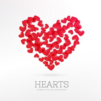 Red hearts casino background