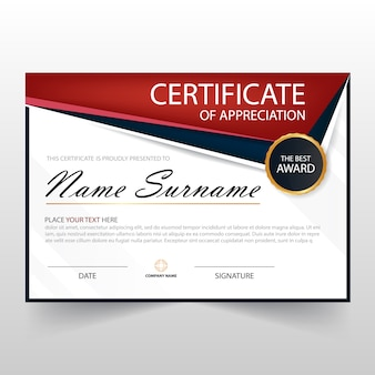 Red horizontal certificate of appreciation