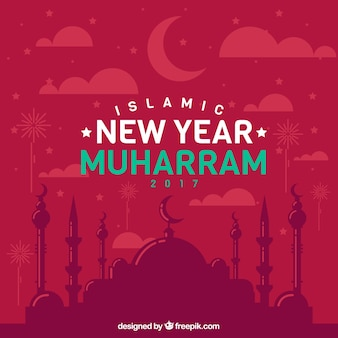 Red islamic new year background