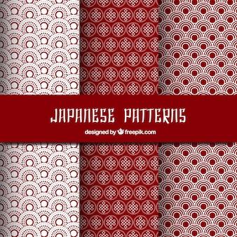 Red japanese patterns set