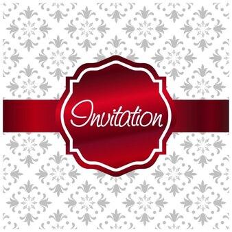 Red label on white ornamental invitation
