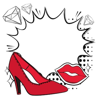 Red lips and high heel background