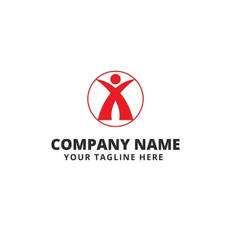 Red logo with a human shape