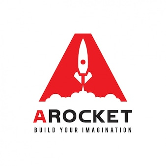 Red logo with a rocket