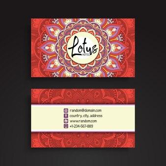 Red lotus mandala visiting card