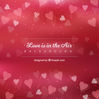 Red love background with decorative hearts