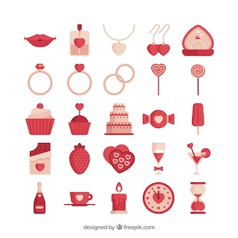 Red love icon collection