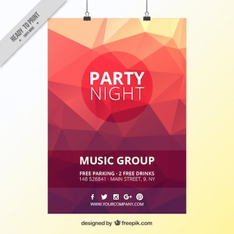 Red low poly party poster
