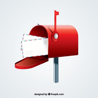 Red mailbox background with envelopes
