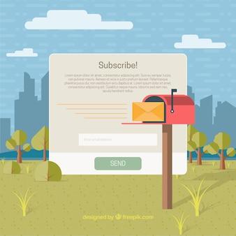 Red mailbox in a landscape in flat design
