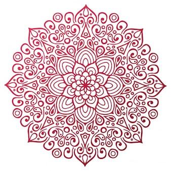 Red mandala outline