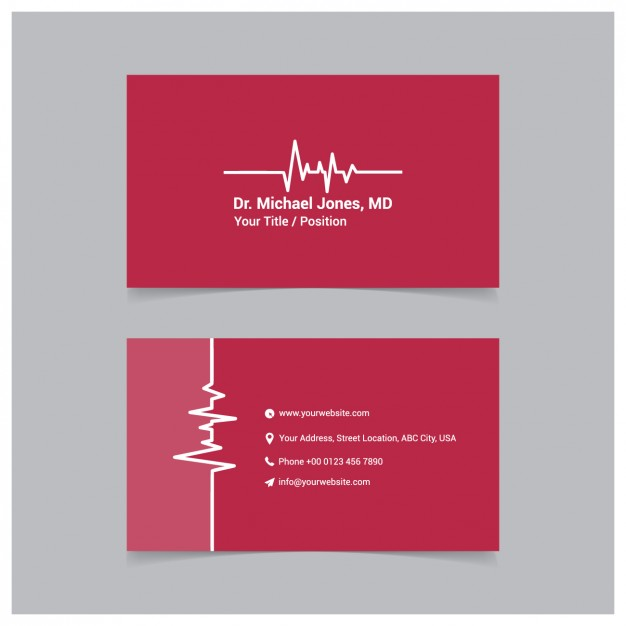 Red medical business card template