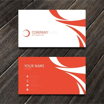 Red minimal abstract business card tempate