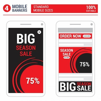 Red mobile ads banner set
