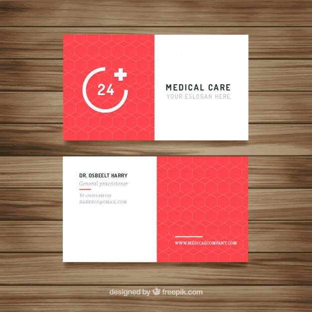 Red modern medical card