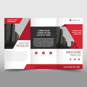 Red modern trifold business brochure template