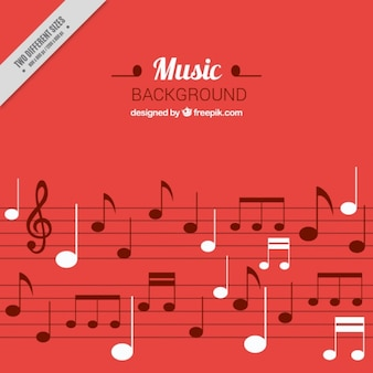 Red musical background with white details