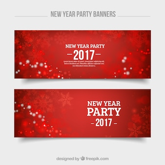 Red new year banners with snowflakes