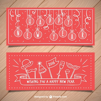 Red new year party banners in hand drawn style