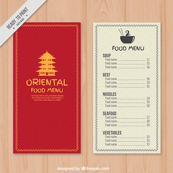 Red oriental menu with a yellow temple drawing
