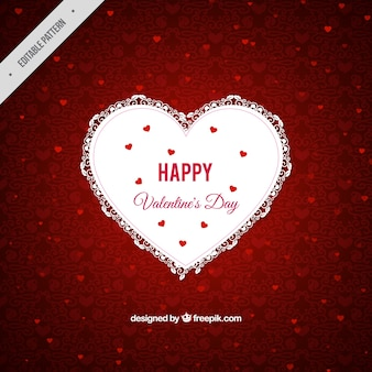 Red ornamental background with lace heart