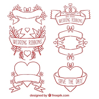 Red outlined wedding ribbons set