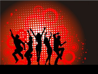 Red Party Background with Dancing Silhouette