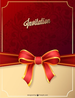 Red party invitation with ribbon