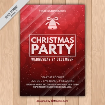 Red party poster for christmas