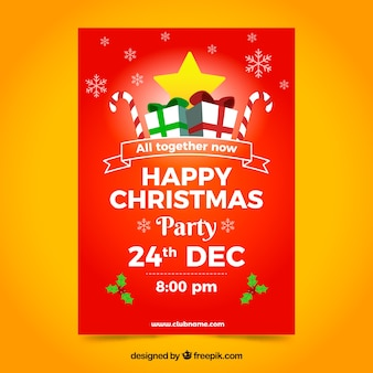 Red party poster with christmas gifts