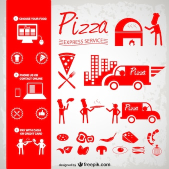 Red pizza icons