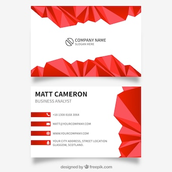 Red polygonal card