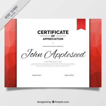 Red polygonal certificate